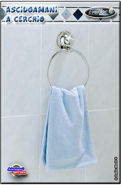Accessori Bagno A Ventosa Everloc.Porta Asciugamani A Cerchio Da Parete Acciaio Con Ventose Forte Tenuta Everloc Ebay